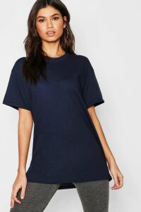 Womens Basic Oversized Boyfriend T-Shirt - Navy - Xl, Navy
