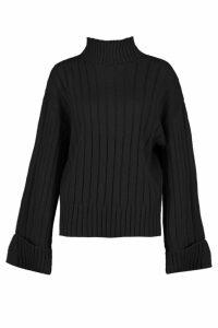 Womens Maxi Wide Sleeve Wide Rib Jumper - black - M/L, Black
