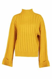 Womens Maxi Wide Sleeve Wide Rib Jumper - yellow - M/L, Yellow