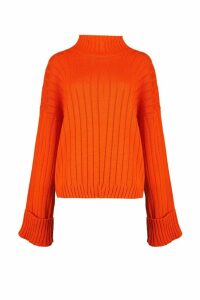 Womens Maxi Wide Sleeve Wide Rib Jumper - orange - S/M, Orange