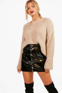Womens Cuff Detail Fisherman Jumper - beige - M/L, Beige