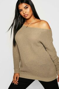Womens Plus Slash Neck Fisherman Jumper - beige - 18, Beige
