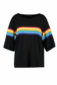 Womens Plus Rainbow Print T-Shirt - Black - 20, Black