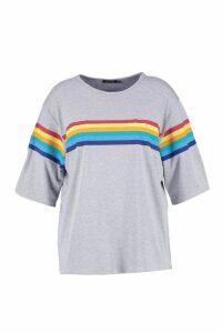 Womens Plus Rainbow Print T-Shirt - grey - 22, Grey