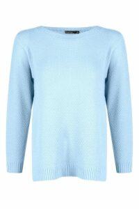 Womens Petite Side Split Tunic Jumper - blue - 4, Blue