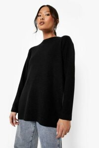 Womens Petite Side Split Tunic Jumper - black - 4, Black