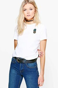 Womens Petite Pineapple Badge T-Shirt - White - 12, White