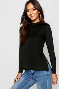 Womens Petite High Neck Soft Knit Side Split Tunic Top - black - 14, Black