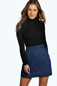 Womens Petite Long Sleeve Rib roll/polo neck Top - black - 6, Black
