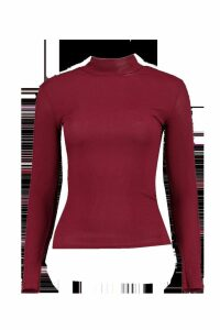 Womens Petite Long Sleeve Rib roll/polo neck Top - red - 8, Red