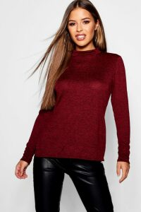 Womens Petite High Neck Soft Knit Side Split Tunic Top - red - 10, Red