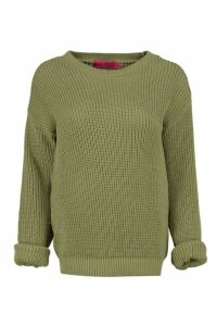 Womens Petite Oversized Jumper - Green - 12, Green