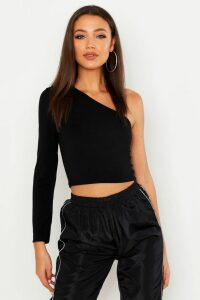 Womens Tall One Shoulder Crop Top - black - 16, Black