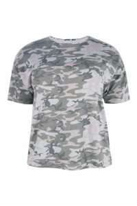 Womens Plus Camo Oversize T-Shirt - multi - 18, Multi