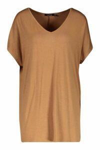 Womens Tall V-Neck Basic T-Shirt - beige - 6, Beige