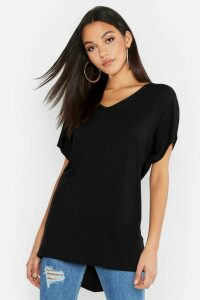 Womens Tall V-Neck Basic T-Shirt - Black - 10, Black