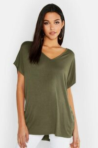 Womens Tall V-Neck Basic T-Shirt - Green - 16, Green
