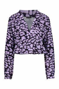 Womens Tall Plunge Leopard Satin Shirred Shirt - purple - 6, Purple
