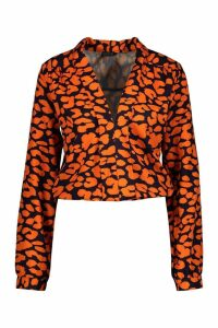 Womens Tall Plunge Leopard Satin Shirred Shirt - orange - 8, Orange