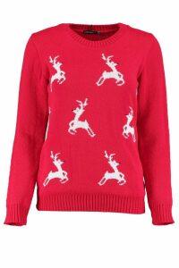 Womens Petite Reindeer Christmas Jumper - red - 14, Red
