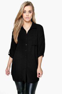 Womens Plus Oversized Shirt - Black - 24, Black