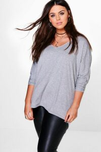 Womens Plus Long Sleeve Basic T-Shirt - Grey - 18, Grey