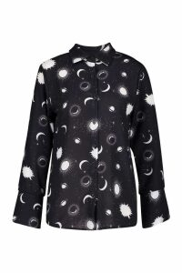 Womens Tall Sun and Moon Print Shirt - black - 6, Black
