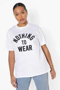 Womens Plus Nothing To Wear Slogan T-Shirt - White - 20, White