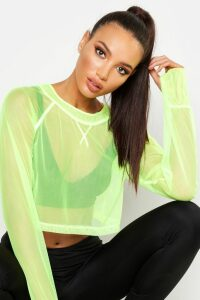 Womens Fit Neon Mesh Gym Top - green - 14, Green