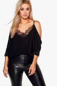 Womens Plus Lace Trim V Neck Cold Shoulder Top - black - 20, Black