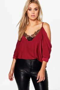 Womens Plus Lace Trim V Neck Cold Shoulder Top - red - 18, Red