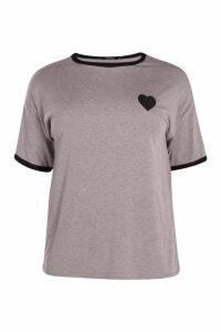 Womens Plus Tipped T-Shirt With Heart - grey - 22, Grey