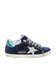 Golden Goose Superstar Sneakers In Blue Velvet