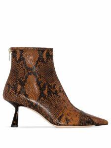 Jimmy Choo Kix snakeskin-effect ankle boots - Brown
