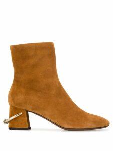 L'Autre Chose metallic ring ankle boots - Brown