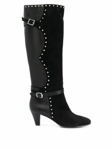 Via Roma 15 stud detail knee-length boots - Black
