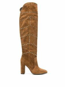 Via Roma 15 studded knee high boots - Brown