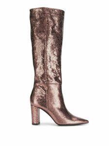 Marc Ellis metallic knee-length boots - Brown