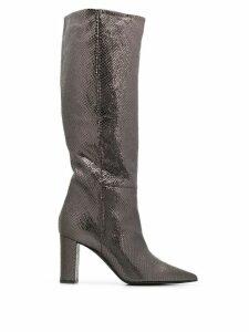 Marc Ellis snakeskin effect knee high boots - Silver