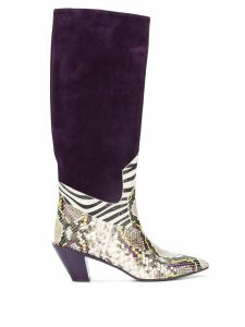 A.F.Vandevorst panelled knee-high boots - PURPLE