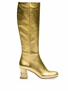 Miu Miu embellished 65mm heel boots - Gold