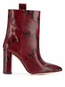 Paris Texas snakeskin print ankle boots - Red