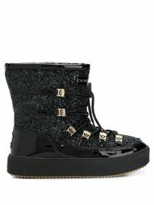 Chiara Ferragni lace-up glitter moon boots - Black