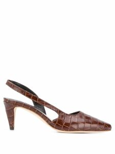 BY FAR Flaunned crocodile effect pumps - Brown