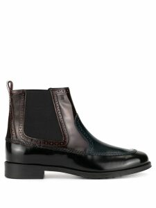 Tod's brogue detail ankle boots - Black