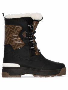Fendi FF-panel shearling snow boots - Black