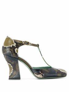 Paola D'arcano snakeskin-effect T-bar pumps - Green