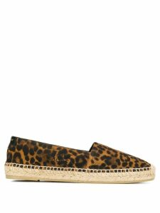 Saint Laurent animal print stitched logo espadrilles - Brown