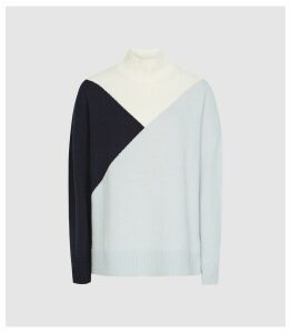 Reiss Divinity - Colour Block Knitted Jumper in Navy, Womens, Size XXL