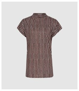 Reiss Pax - Printed High Neck Top in Berry, Womens, Size XL